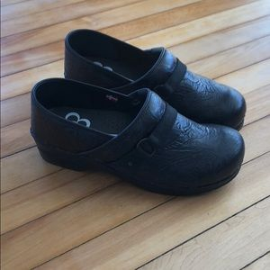 Sanita Embossed Leather Clogs